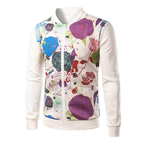 Mens Jacket,Leegor Fashion Flowers Print Slim Designed Zipper Cardigan Coat Tops (M, White)