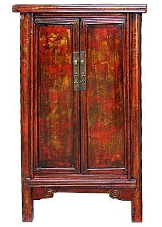 "Authentic Asian Antique Furnishings - 57"" Refurbished Early 20th Century Chinese Cabinet w/ Hand Painted Decoration"