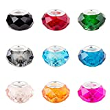 Pandahall 100PCS 14x8mm Mixed Color Glass European Beads with Platinum Color Brass Core, Hole: 5mm (Color: Mixed Color, Tamaño: 14*8mm)