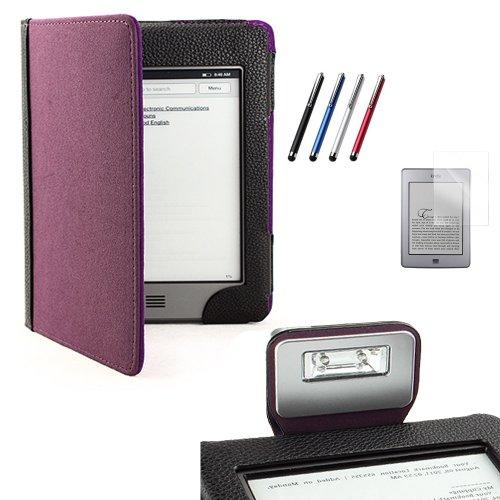 Funda con luz para el Kindle Touch (negro/morado) + PROTECTOR DE PANTALLA + LÁPIZ ÓPTICO