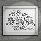 `Noir Paranoiac` Art Print - MUSE - Origin of Symmetry - Signed & Numbered Limited Edition Typography Wall Art Print - Song Lyrics Mini Poster