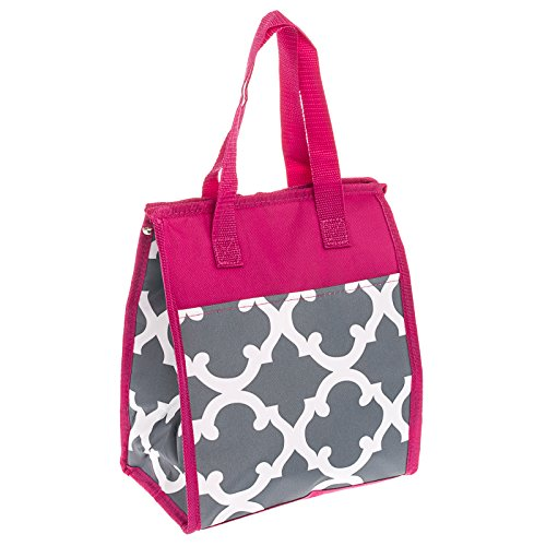 Womens Nylon Insulated Lunch Bag (Geometric - Grey & White w/ Pink Trim) - 1