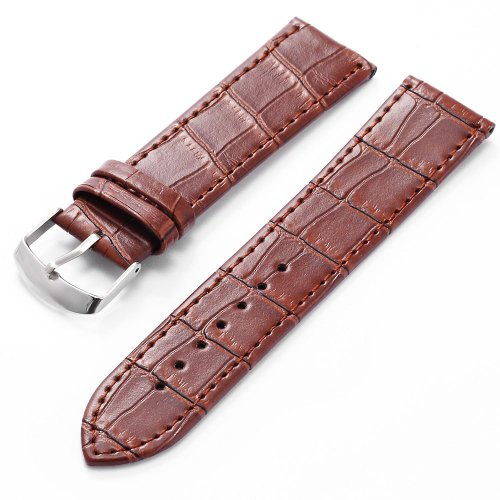 KS 22mm Military Brown Genuine Leather Mens Replacement Watch Band Straps WB2212