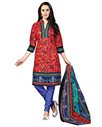 Drapes Women's Cotton Printed Unstitched Dress Material (Red)