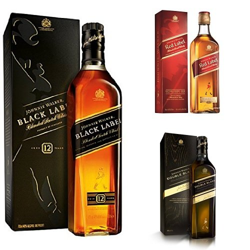 discount duty free Bundle: Johnnie Walker Red, Black and Double Black Label Blended Scotch Whisky 70cl