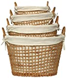 Willow Oval Laundry Baskets With Cotton Liners Set / 4, Large= 22&quot;L x 13 1/2&quot;H x 17 1/2&quot;W