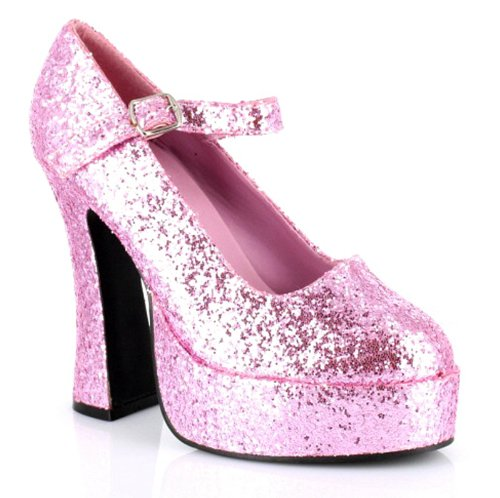 Mary Jane Platform (Pink Glitter) Adult Shoes - 10