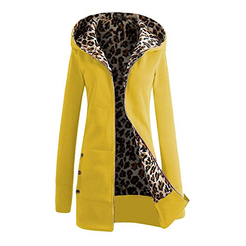 Star Fashion Women Clothing Winter Coat Hoodies Warm Jacket Yellow Leopard-M