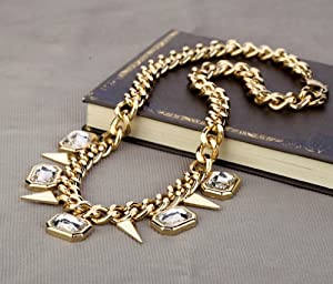 Buyinhouse Creative Golden Plated Fashion Style Diamonds Gemstones Rhinestones Rivets Pendant Short Style Chain Necklace