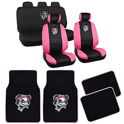 Black/Pink Trim Car Seat Covers for Auto Gift Lady Skull w/ Carpet Floor Mats (Baby Car Seat Covers Pink compare prices)