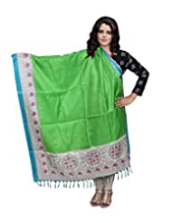 IndiWeaves Women Bhagalpuri Silk Printed Green Dupatta