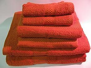 SIX-PIECE 100 COTTON TOWEL SET - ORANGE