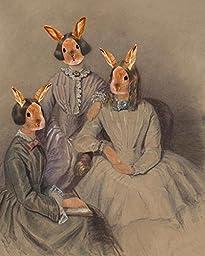 BRONTE BUNNY SISTER Rabbit Lady Victorian portrait anthro altered art print