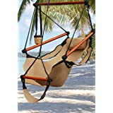 New Deluxe Tan Sky Air Chair Swing Hanging Hammock Chair W/ Pillow & Drink Holder