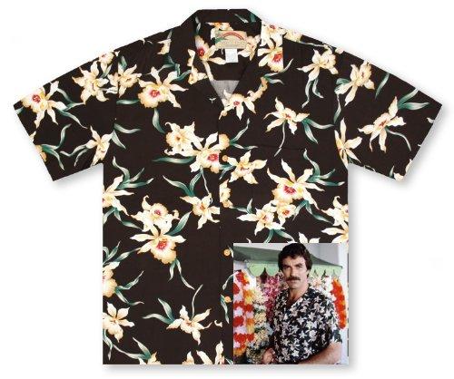 Paradise Found Star Orchid Black Tom Selleck Magnum Pi #2 Hawaiian Shirt