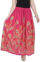 Soundarya Women's Cotton Skirt (Pink)
