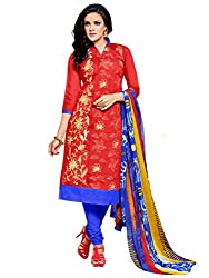 PS Enterprise Red & Blue Chanderi Cotton Embroidery Work Unstitched Dress Material With Dupatta - 8DMK030