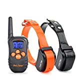 Petrainer Pet998n2 330 Yards Beep and Vibration Rechargeable Pet Training Collar for 2 Dogs, No Static Shock Function