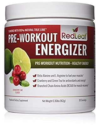 Red Leaf Pre-Workout Energizer with Beta-Alanine, BCAAs and Antioxidants, Natural Cranberry Lime Flavor, 30 Servings