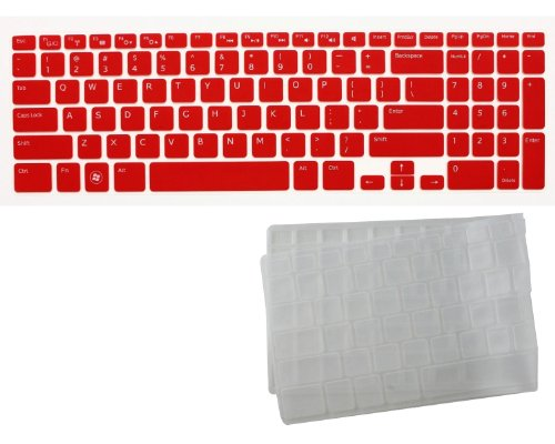 "2-Pack Transparent Ultra Thin Soft Silicone Gel Keyboard Protector Skin Cover For Dell New Inspiron 15R, N5110, M511R, M5110 Us Layout Laptop(If Your ""Enter"" Key Looks Like ""7"", Our Skin Can'T Fit) (Red + Clear)"