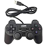 Poulep USB Pc Computer Vibration Shock Wired Gamepad Game Controller Joystick Game Pad (Black) (Color: Black)
