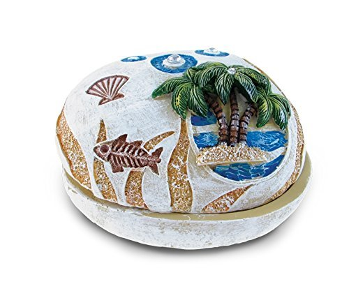 Puzzled Palm Tree Nautical Stone Trinket Box