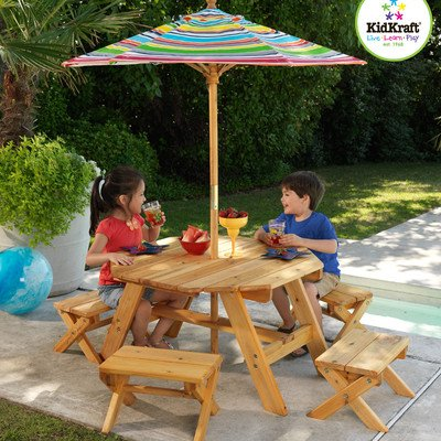 KidKraft Octagon Table & 4 Stools and Multi-Striped Umbrella