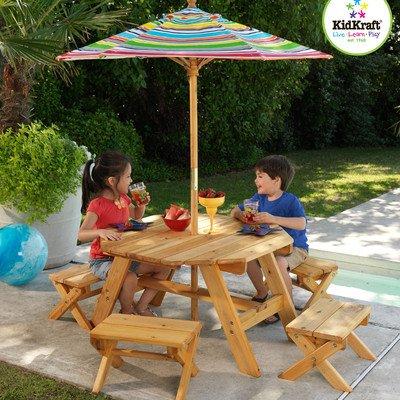 KidKraft Octagon Table & 4 Stools and Multi-Striped Umbrella