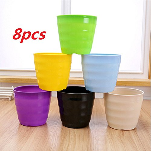 Ellami Set of 8 Multicolored Resin Circle screw thread Flower Plant Pots / Planters with Attached Saucer Pallet,All