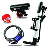 Kit para Bicicleta Xtreme Bright Ultimate Bike Kit con luces de adelante y atras, candado e inflador.