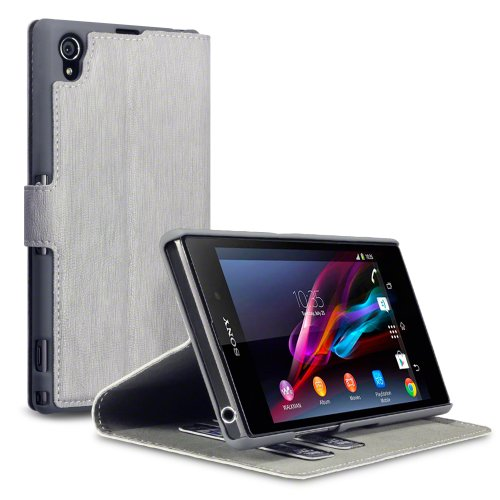 Sony Xperia Z1 Low Profile Faux Leather Wallet Case with Viewing Stand - By Covert (Grey)