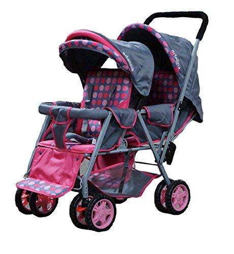 ADELINA-Designer-Double-Stroller-Pink