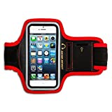 Gear Beast Deluxe Sports Armband for Apple iPhone 5 & iPhone 5s & iPhone 5c & iPod Touch [5th Gen] & Apple iPhone 4 & iPhone 4s & Samsung Galaxy S4 MINI & Galaxy S3 MINI & More (Red/Black)