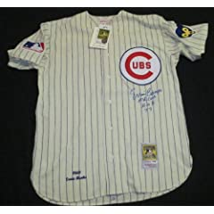 PSA DNA ERNIE BANKS HOF 77 MR CUB AUTOGRAPHED 1969 CUBS MITCHELL & NESS JERSEY by PSA/DNA AUTOGRAPHED BASEBALL JERSEY