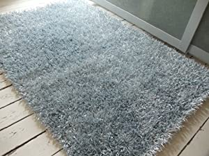 Sparkle Spider High Gloss rug. 70x140cm SILVER. UK MAINLAND POSTAGE ONLY