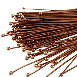 Beadthoven 50pcs Red Copper Plated Brass Ball Headpins, DIY Jewelry Necklace Beading Making, Size: about 0.5mm thick, 50mm long