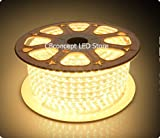 CBConcept® 120VSMD5050-37M-WW 120 Feet Warm White 120 Volt High Output LED SMD5050 Flexible Flat LED Strip Rope Light - [Christmas Lighting - Indoor Outdoor rope lighting - Ceiling Light - kitchen Lighting] [Dimmable] [Ready to use] [7 16 Inch Width X 5 16 Inch Thickness]