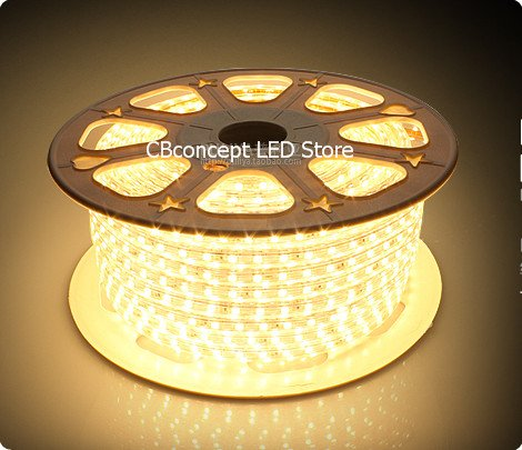 Cbconcept® 120Vsmd5050-24.5M-Ww 80 Feet Warm White 120 Volt High Output Led Smd5050 Flexible Flat Led Strip Rope Light - [Christmas Lighting, Indoor / Outdoor Rope Lighting, Ceiling Light, Kitchen Lighting] [Dimmable] [Ready To Use] [7/16 Inch Width X 5/1