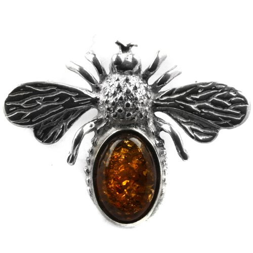 Baltic Honey Amber Sterling Silver Museum Collection Classic Abstract Butterfly Pin 19th Century