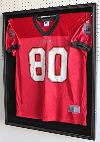 XX Large Pro Football Hockey Uniform Jersey Display Case Shadow box frame, ULTRA CLEAR UV Protection, Locks-Black Finish (JC02-BL) (Extra Large Display Case compare prices)