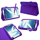 Samrick Executive Specially Designed Leather Book Folio Wallet Case with Exclusive Viewing Stand, Screen Protector, Microfiber Cloth, High Capacitive Stylus Pen for 8.0 inch Samsung N5100/N5110 Galaxy Note - Purple