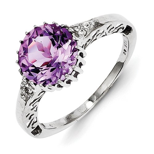 White Topaz & Amethyst Ring In Sterling Silver - Stunning - Round Shape