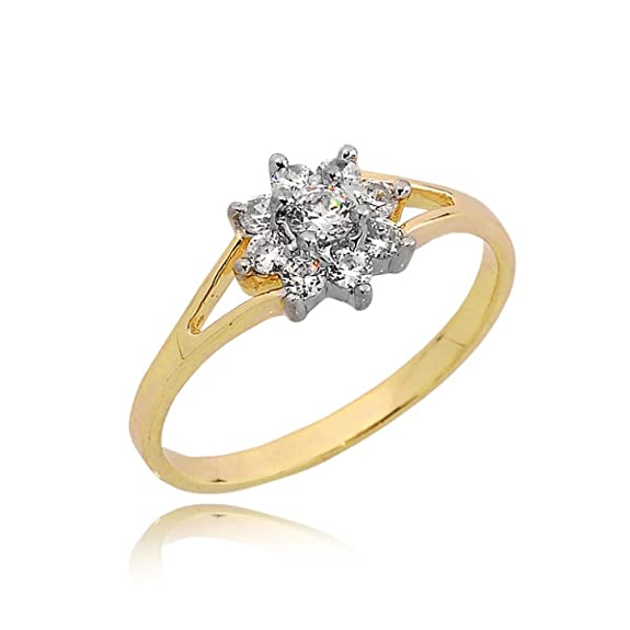 Split zirconia studded engagement ring