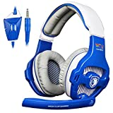 [2016 New Version Sades WCG Customized PS4 xbox one PC Headset] SADES WCG Gaming Headset Headphones for PlayStation4 PS4 New Xbox One PC Laptop Mac with Braided Cable and Mic (Blue&White)