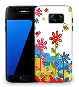 Snoogg White flower graphic Designer Protective Back Case Cover For Samsung Galaxy S7