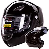 Modular Flip up Motorcycle Helmet Gloss Black DOT #936 (Large)