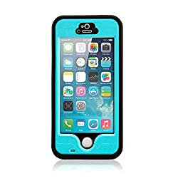 Gearonic Durable Waterproof Shockproof Snow Dirt Proof Fingerprint Scanner Full Case Cover for Apple iPhone 5 5S - Non-Retail Packaging - Light Blue