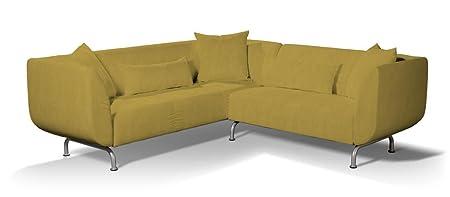 Dekoria Revêtement de canapé 3+2 places Strömstad Housse de canapé, adaptée au modèle Ikea Strömstad, couleur moutarde