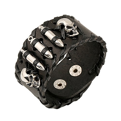 Mr Rabbit Skeleton & Bullet Shapped Weave Black Leather Bracelets
