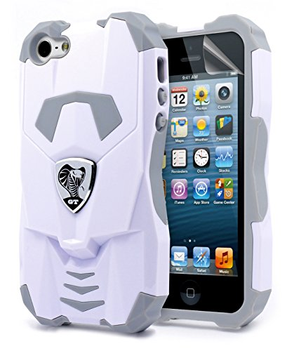 NageBee Platinum Collection Cobra GT Series Hybrid Case for Apple iPhone 5/ 5S - White (Iphone 5 Platinum Case compare prices)